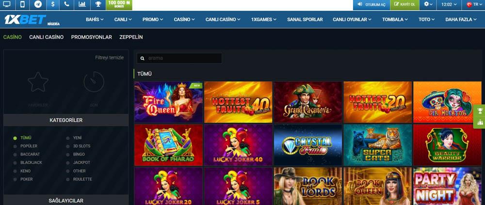 1xBet Casino Oyunlari